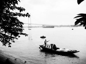 Prinsep Ghat, Calcutta, black and white, tour India